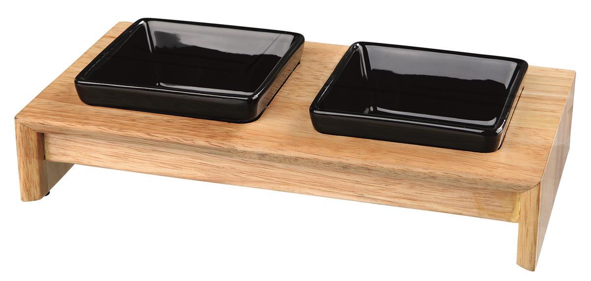 Matbar i tre/keramikk til hund 2×0.4 liter