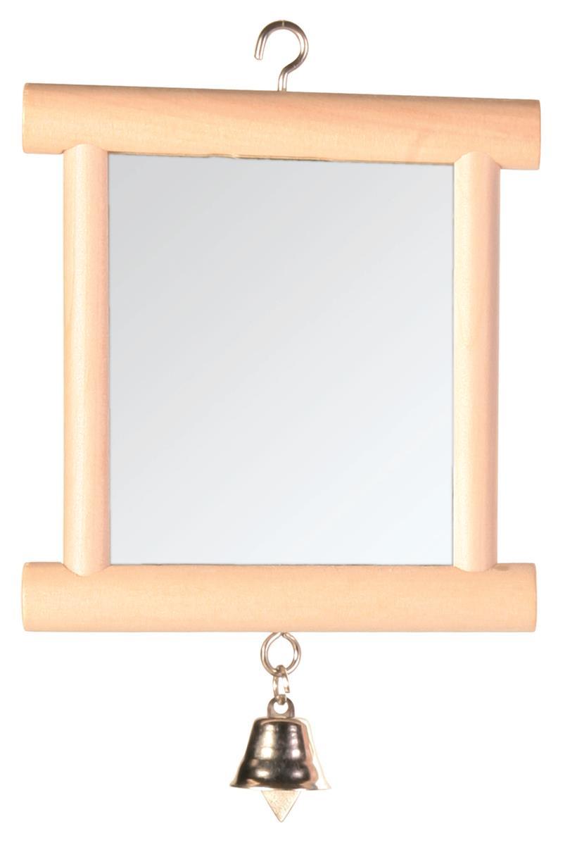 Speil med treramme og bjelle