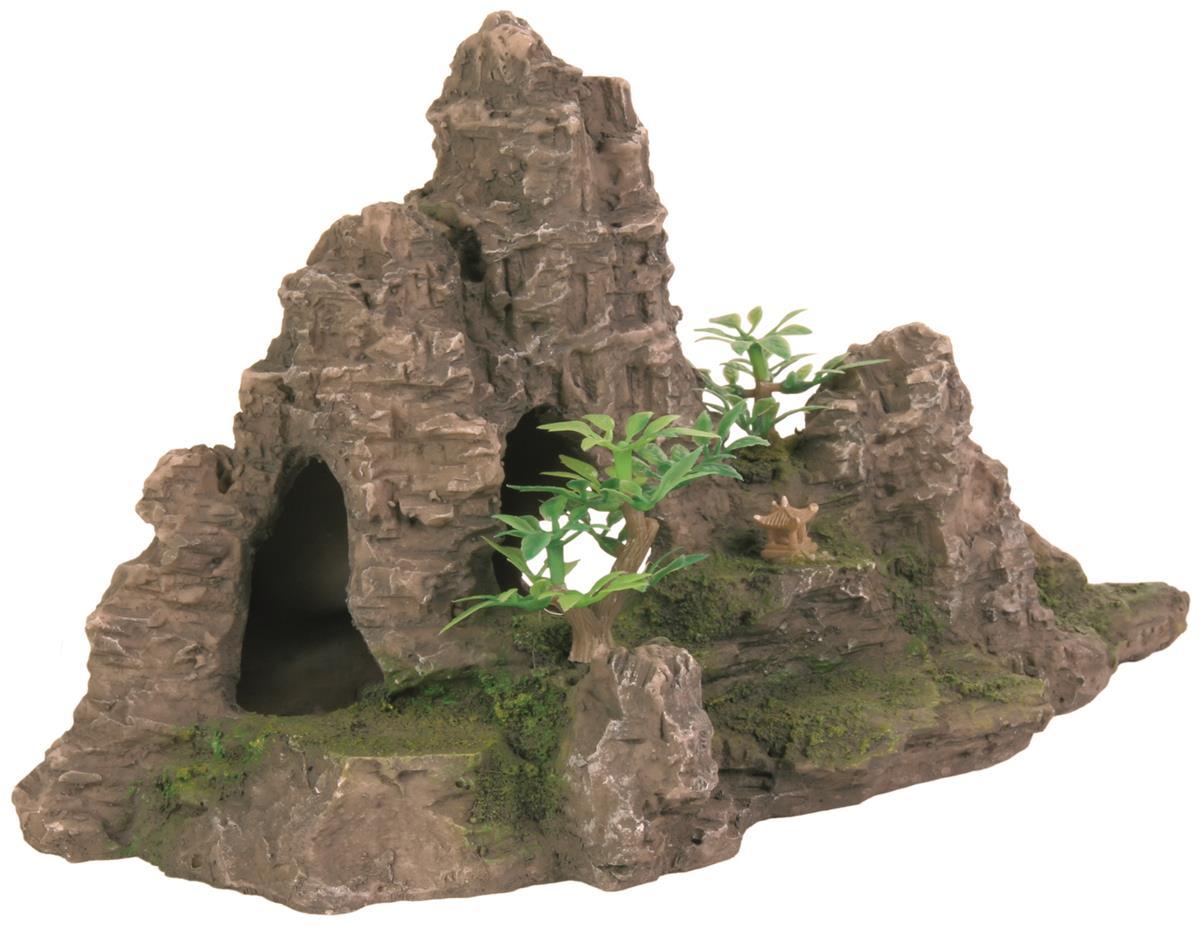 Akvariedekor fjell med plante 22 cm