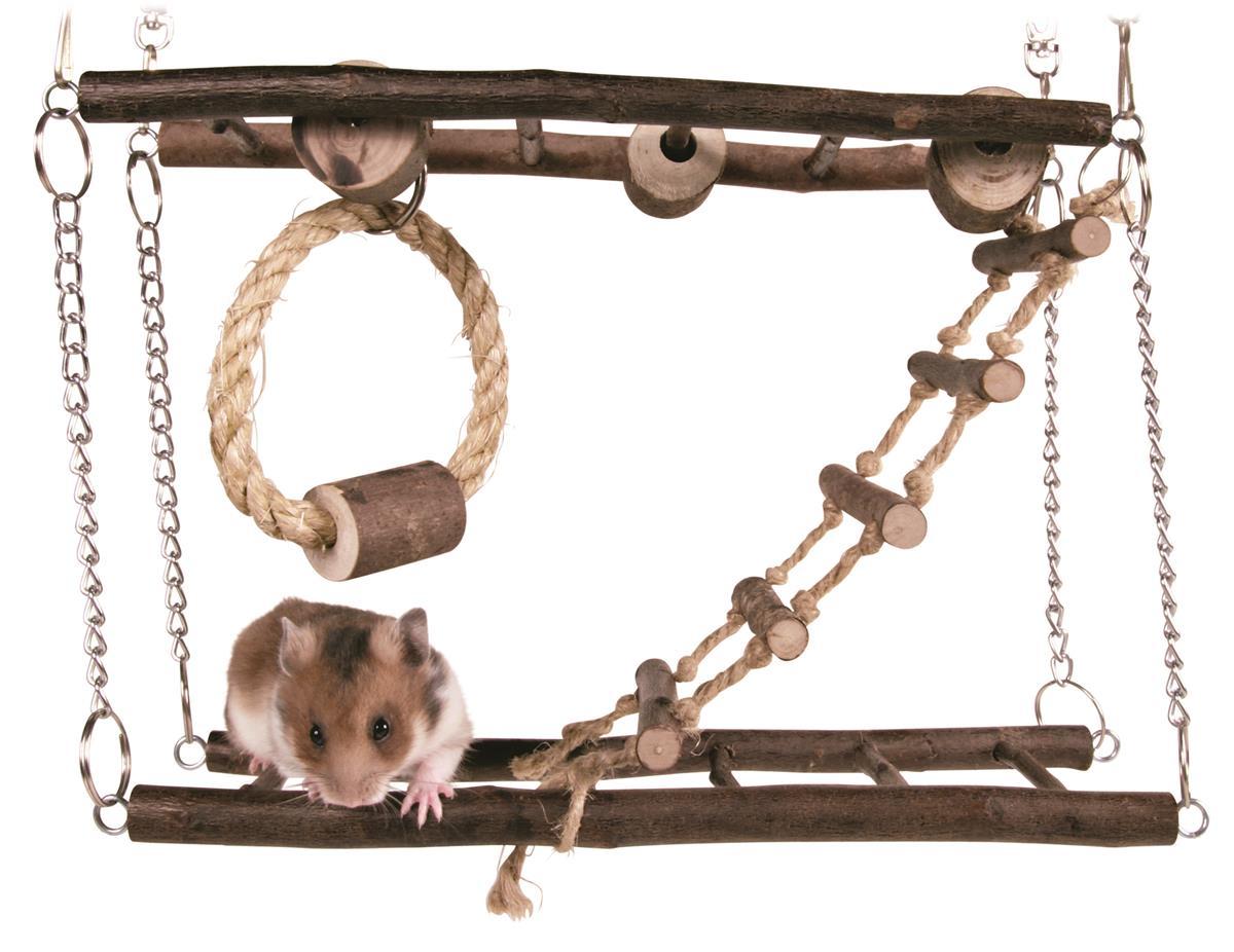 Hengebro smådyr to etasjer med tau ring. 27x17x9 c