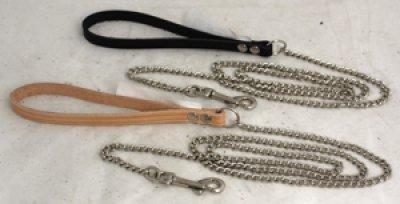 Kobbel kjetting med lærhåndtak Alac 2 mm x 150 cm