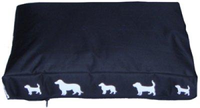 Madrass sort med hvite hunder 74x52x8 cm