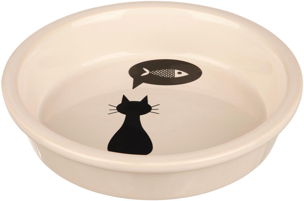 Katteskål porselen m/motiv enkel 250ml