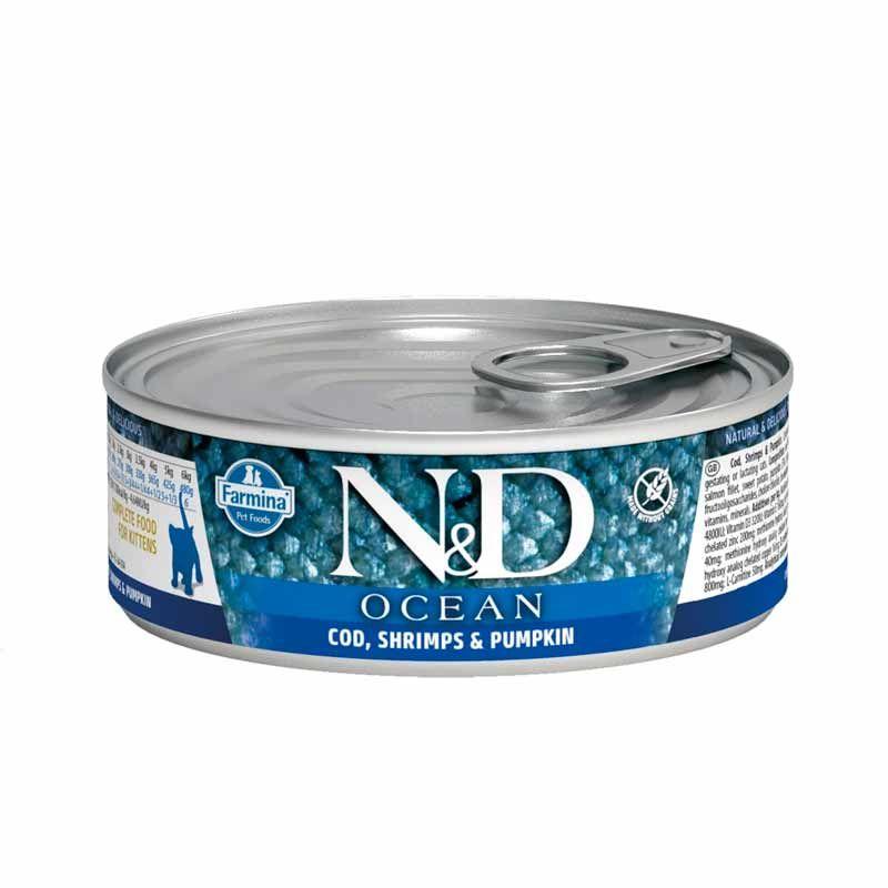 Farmina N&D kitten ocean cod & shrimp & pumkin 80