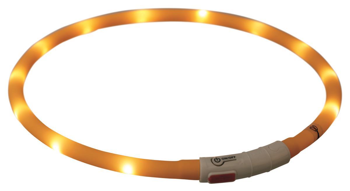 Lysende halsbånd silikon med USB lader 70 cm 10 mm