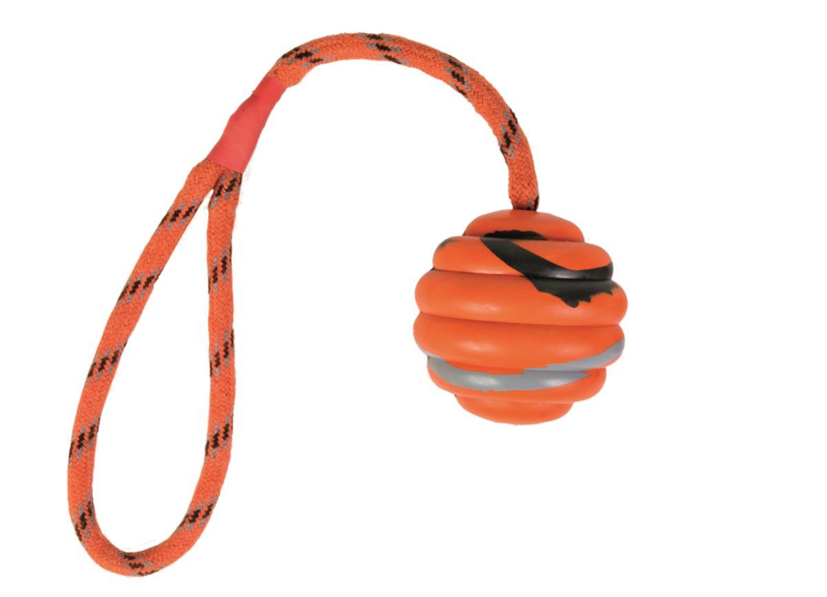 Hundeleke Ball med tau 6 cm