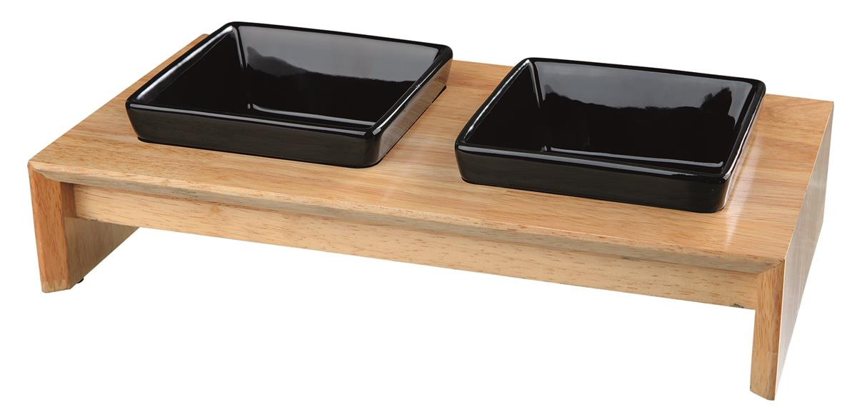 Matbar i tre/keramikk til hund  2×0.2 liter