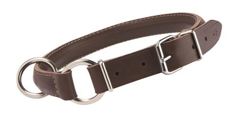 Halsbånd halvrundt strup mørk brun 33 cm