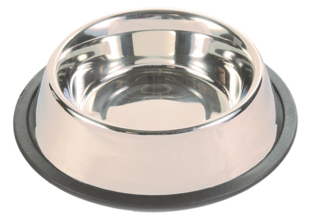 Matskål stål antiskli med gummiring 0.45 liter